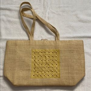 Handmade Woven Tote w/ Zip-Up Pocket and Tie